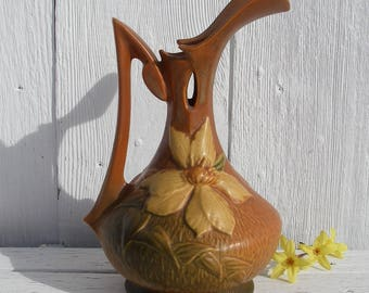 "Antique Roseville Pottery, Roseville USA 17-10"" Autumn Brown Clematis Ewer Pitcher, Vintage 1940's Roseville USA Art Pottery"