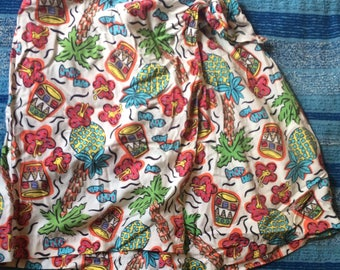 Adorable Fake Wrap Skort Size Large Tropical Print