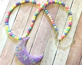 Fairy Kei Dreamy Moon Beaded Necklace (purple moon)
