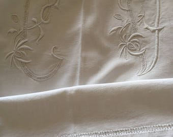 The most beautiful French linen dowry sheet. Top quality. Exquisite embroidered initials.