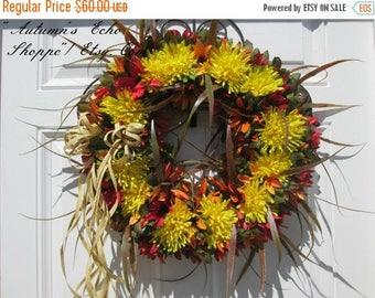 FALL MUMS WREATH  ~ Fall Door Decor ~ Fall Wreath ~ Mum Wreath ~ Fall Flowers Wreath ~ Country Farmhouse Decor Wreath ~ Front Door Wreath  ~