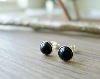 Onyx Studs, Sterling Silver, Simple Black Studs, Simple Stone Studs, Onyx Earrings, Genuine Onyx, Black Gemstone, Black Onyx, Smooth Onyx