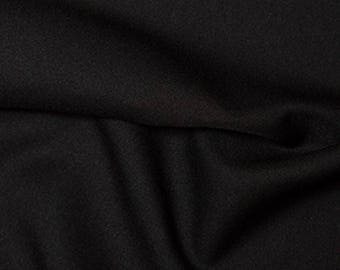 "Black - Polyester Twill Plain Fabric 150cm (59"") Wide Dressmaking Material"