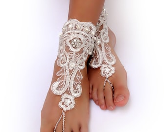 Ivory & Silver Lace Barefoot Sandals. Beaded Foot Jewelry. Ivory Pearl Beads. Clear Rhinestone. Elastic Anklets. Beach Wedding. Set of 2 pcs