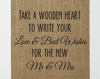 Take A Wooden Heart To Write Your Love & Best Wishes - BURLAP SIGN 5x7 8x10 - Rustic Vintage/Wedding Decor/Love House Sign