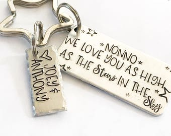 Personalized gift - Hand stamped keychain - Gift from children - Gift for grandparent - custom gift - Special gift from kids - Stars