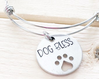 Dog bless - Paw print jewelry - Hand stamped bracelet - Paw print bracelet - Dog bless bracelet - Gift for dog lover - Rescue mom - Dog gift