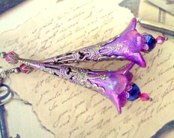 Long Filigree Earrings, Hand Painted Earrings, Purple Dangles, Fuchsia and Purple, Fairy Earrings, Boho, Vintage Style, Lucite Flower Dangle