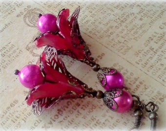 Fuchsia Earrings, Flower Dangles, Hot PInk Earrings, Filigree Pink Earrings, Hand Painted Earrings, Floral Jewelry, Fuchsia Flower Dangles