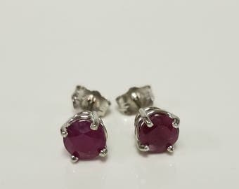 5mm Estate 14k White Gold Natural .70ct Ruby Earrings Studs Stud .50ct .75ct GE108