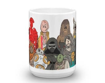 Star Wars, The Last Jedi, Empire Strikes Back, Return of the Jedi Old and New Character Coffee Mug