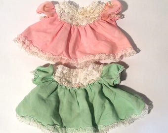 Vintage 1980s Set of 2 Original, G1 Cabbage Patch Kid Doll Dresses, Green and Pink