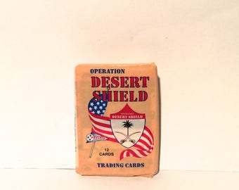 Vintage 1990s Operation Desert Shield Pacific Wax Pack of 12 Trading Cards/Collectible