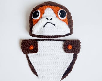 Brown Porg Baby Hat and Diaper Cover Costume From Star Wars For Girl - Premie, Newborn Photo Prop/ Halloween/ Cosplay Wig/ Baby Shower Gift