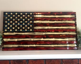 Distressed, Rustic, Wooden American Flag // 3' - Burnt Finish