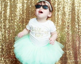 Birthday Outfit Girl, First Birthday Girl Outfit Mint Gold, Birthday Shirt, Mint Birthday Tutu, Cake Smash Outfit