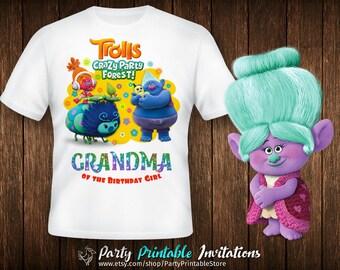 Trolls birthday shirt, Trolls birthday shirt iron on, Trolls birthday shirt printable, Trolls birthday shirt family