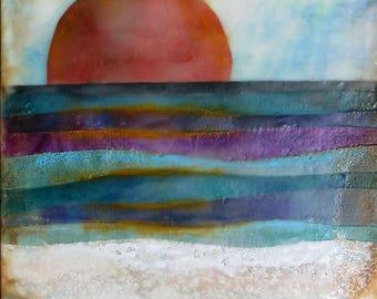 Encaustic painting - Stormy Seas