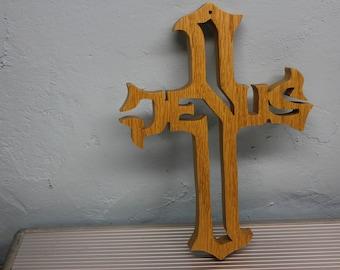 scroll saw cut oak jesus cross