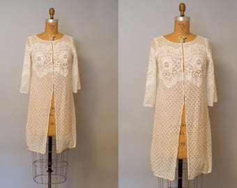 Vintage 1970s White Lace Beach Cover Up