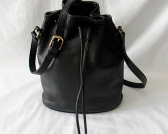 Vintage Black Leather Coach Limited Edition Nicholas Drawstring Bag