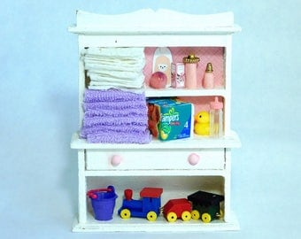 nursery shelves and baby supplies dollhouse miniature 1/12 scale