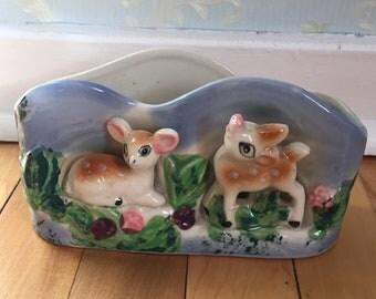 Vintage 1960s Ceramic Deer Fawn Planter Vase!