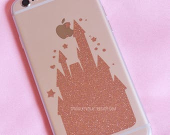 """Rose Gold Glitter Castle Decal [2.2 by 3.6""""]"""