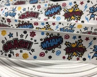 """3 yards 7/8"""" super power wham glitter grosgrain ribbon"""