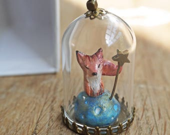 Necklace long necklace or bell decorative glass my fox and its flower on a blue planet
