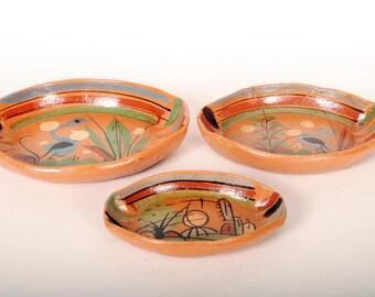 Vintage Tlaquepaque Pottery 3 pc Serving Set