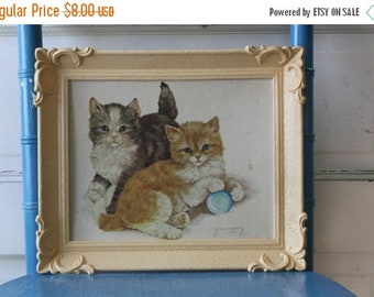 50% off Vintage Kitten Lithograph Print Grace Lopez Plastic Frame Mid Century Art