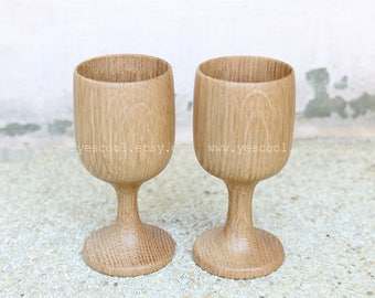 Decorative Wooden Wine Glasses Wood Cups Gift Set of 2