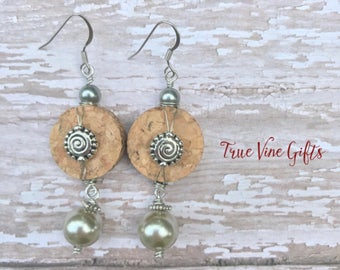 Wine Cork Earrings with Silver and Champagne Pearls