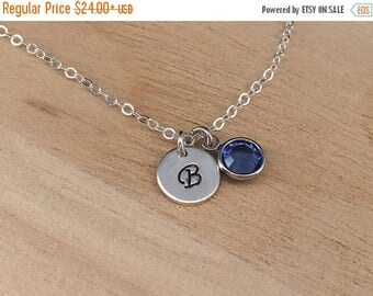 ON SALE Girl Initial Necklace, Birthstone Necklace, Little Girl Necklace, Child jewelry Personalized Necklace Girl, Girl Jewelry, Initial Je