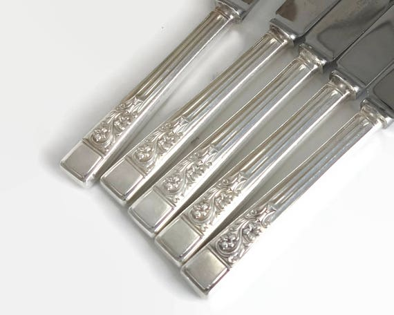 5 large silver plated and stainless steel knives, hollow handles, Springtime pattern, Francis Greaves, Sheffield, England, mid 20th century