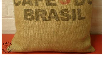 Hessian Sack Printed Soft Scatter Cushion Pillow Cafe Recycled Coffee Shop Home Decor Kitchen Gift Over Locked  Seams