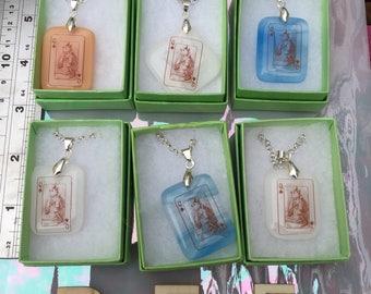 Alice wears the crown - Alice in Wonderland fused glass pendant