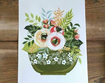 Flowers and Pyrex - PRINT of original art - Spring Blossom print in avocado green - kitchen art - farmhouse decor