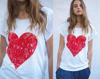 Woman T-shirt Red on White Love Heart Print boyfriend T-shirt Silkscreen Valentine's