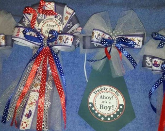 Nautical navy Baby shower corsage set Mommy & 2 smaller Grandma corsages and 1 daddy to be tie