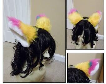 Pink and Yellow Cat Ears -Fox Car Ears, Furry, Halloween Costume , Wolf Ears, Custom made ears, Foxy pet play ears, cosplay Ears