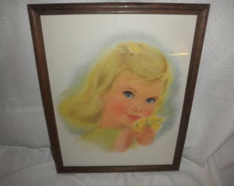 Big Eye Child from Nothern Tissue Litho Print 1950's