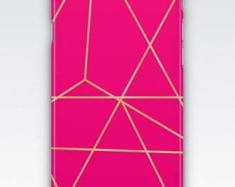 Case for iPhone 8, iPhone 6s,  iPhone 6 Plus,  iPhone 5s,  iPhone SE,  iPhone 5c,  iPhone 7 - Deep Pink & Rose Gold Geometric Design