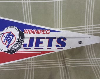 Vintage WINNIPEG JETS Full Size NHL Pennant.