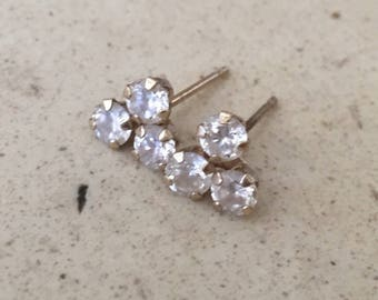 Vintage 10k. Solid Gold with Sparkly CZ's Post Back Stud Earrings.