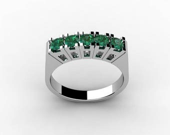 18k White Gold Classic Engagement or Wedding Ring with Emerald  Item # RFW-000-X-25
