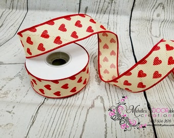 Wired Ribbon - Valentine Heart Wired Ribbon - Valentine Decorative Ribbon