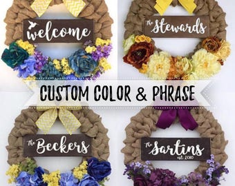 PREORDER Personalized Name Wreath - CUSTOM Wood Last Name Established Sign on Burlap Wreath Floral