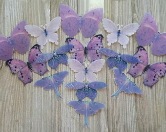15 Summer Purple Lilac Butterfly Cake Toppers